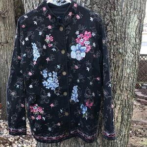 Denim & Co. embroidered dark denim jacket
